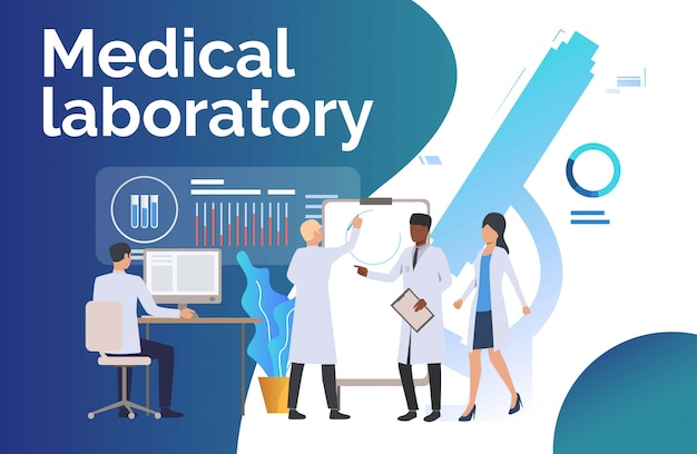 Scienziati che analizzano i dati medici
