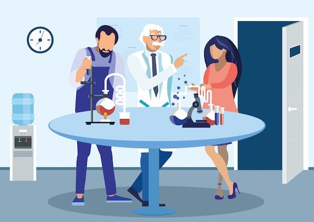 Scienziati che discutono l'illustrazione piana di esperimento