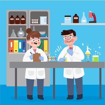Scienziati che lavorano al design dei cartoni animati