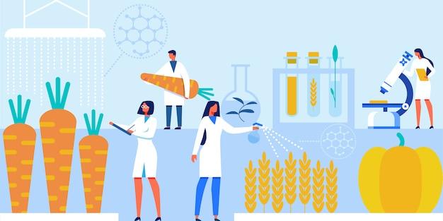 Scienziati che lavorano con prodotti alimentari artificiali.