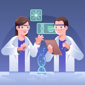 Scienziati che tengono il concetto delle molecole del dna