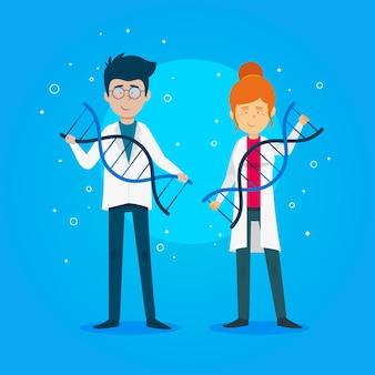 Scienziati che tengono il tema delle molecole di dna