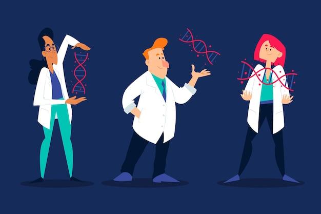 Scienziati che tengono l'illustrazione delle molecole del dna