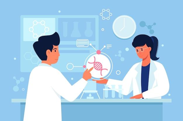 Scienziati di progettazione piana che tengono l'illustrazione delle molecole del dna