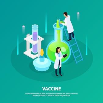 Scienziati durante esperimenti di laboratorio per lo sviluppo di vaccini su verde isometrico