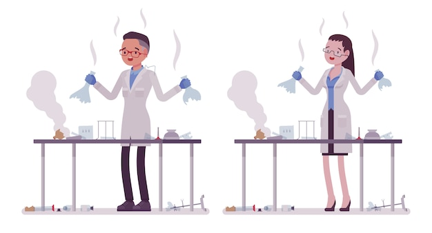 Scienziati maschi e femmine hanno fallito gli esperimenti chimici. esperto di laboratorio fisico o naturale in camice bianco. scienze e tecnologia. stile cartoon illustrazione, sfondo bianco