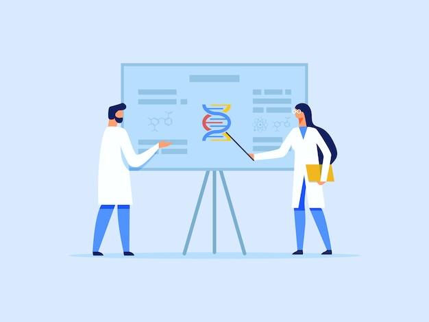 Scienziati o ricercatori che analizzano la molecola del dna