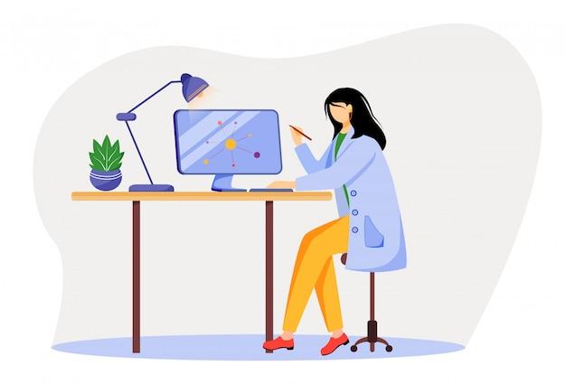 Scienziato all'illustrazione piana del posto di lavoro. donna in camice da laboratorio blu. professore universitario. il fisico che per mezzo del computer per la ricerca ha isolato il personaggio dei cartoni animati su fondo bianco