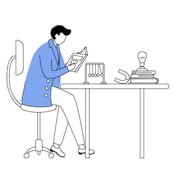 Scienziato alla sua illustrazione piana di vettore di contorno del posto di lavoro. uomo in camice da laboratorio blu. docente universitario disegno semplice. personaggio dei cartoni animati del profilo isolato seduta e libro di lettura del fisico