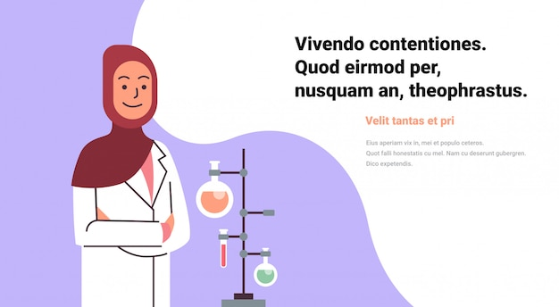 Scienziato arabo femmina che lavora banner