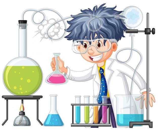 Scienziato che fa esperimento nel laboratorio di scienze