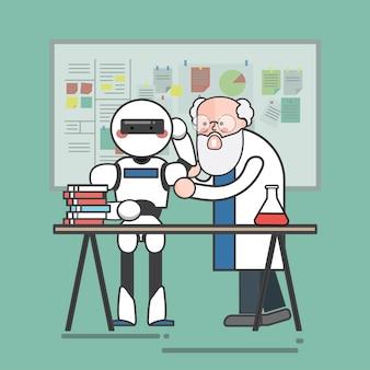 Scienziato che insegna un robot