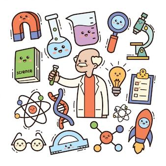 Scienziato del fumetto con l'illustrazione di scarabocchio di kawaii dell'attrezzatura di laboratorio