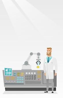 Scienziato e braccio robotico che conducono esperimenti