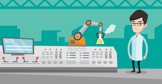 Scienziato e braccio robotico conducono esperimenti.