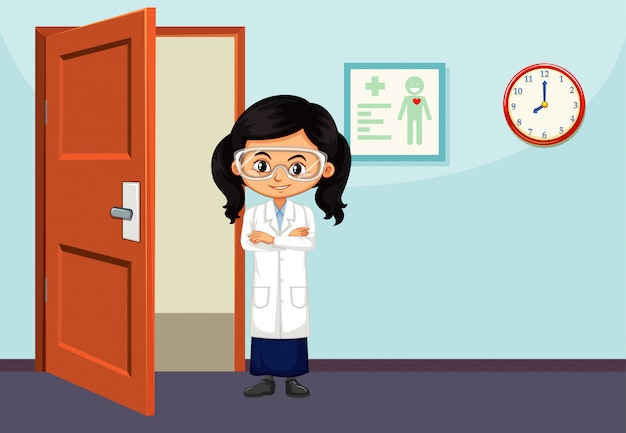 Scienziato in piedi nella stanza