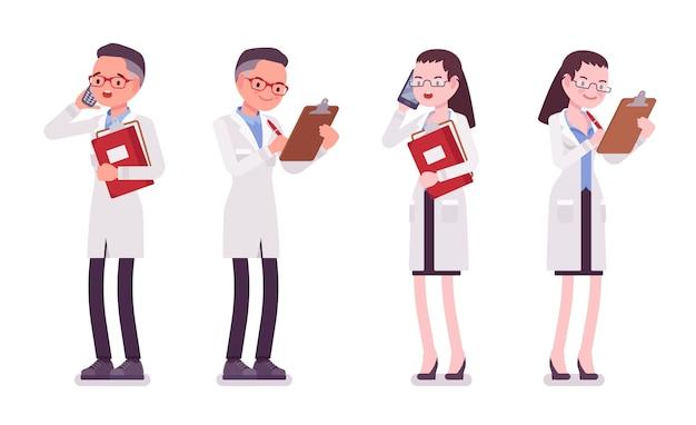 Scienziato maschio e femmina in piedi. esperto di laboratorio fisico o naturale in camice bianco. scienze e tecnologia. stile cartoon illustrazione, sfondo bianco, frontale, vista posteriore