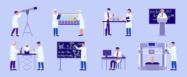 Scienziato nell'illustrazione di ricerca di laboratorio, la gente del fumetto che fa prova di esperimento nell'insieme isolato laboratorio di scienza