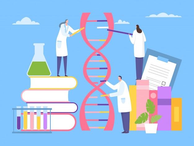 Scienziato ricerca dna genetico, lavoro con il concetto di nucleotide illustrazione. il personaggio di uomo e donna sceglie il componente dna