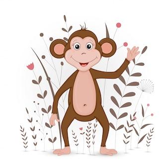 Scimmia animale del fumetto in decorativo floreale con rami e piante.