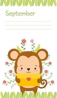 Scimmia carina con lettera d'amore, promemoria di settembre, stile piano