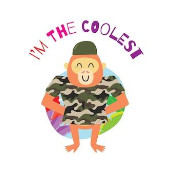 Scimmia cartoon carina con tagline per la progettazione t-shirt per bambini