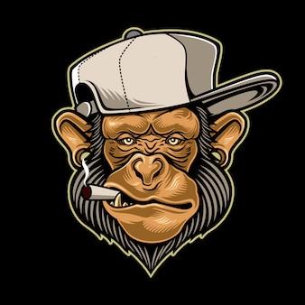 Scimmia che fuma una sigaretta