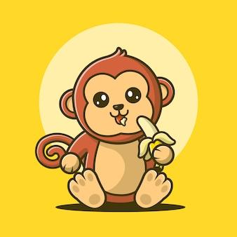 Scimmia che mangia l'illustrazione di vettore della banana.