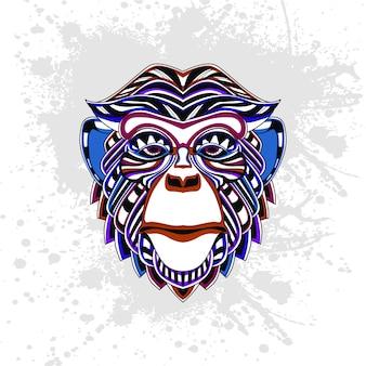 Scimmia decorata con forme astratte