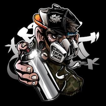 Scimmia del personaggio dei graffiti con maschera antigas