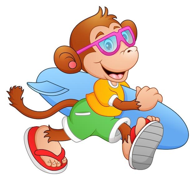 Scimmia di cartone animato con la tavola da surf in esecuzione