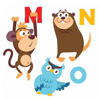Scimmia, gufo, nutria con lettere dell'alfabeto
