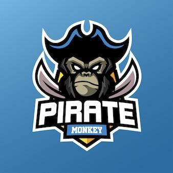 Scimmia pirata per logo sport ed esports