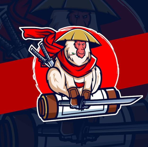 Scimmia samurai ninja mascotte esport logo design