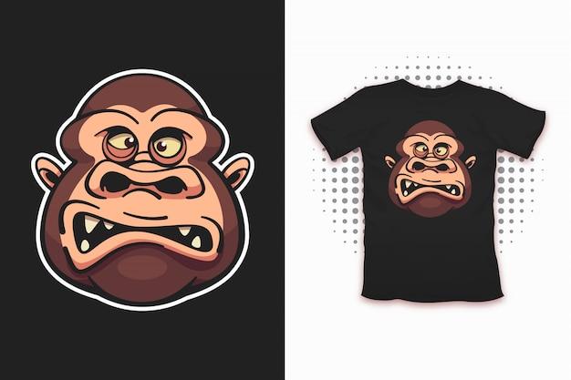 Scimmia stampata per la progettazione di t-shirt