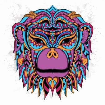Scimmia stilizzata in stile etnico