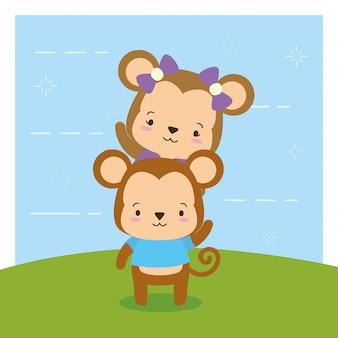 Scimmie su natura, animali svegli, stile piano e fumetto, illustrazione