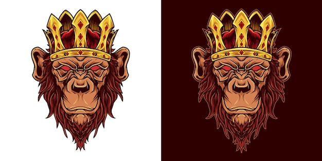 Scimpanzé king head mascot logo illustration