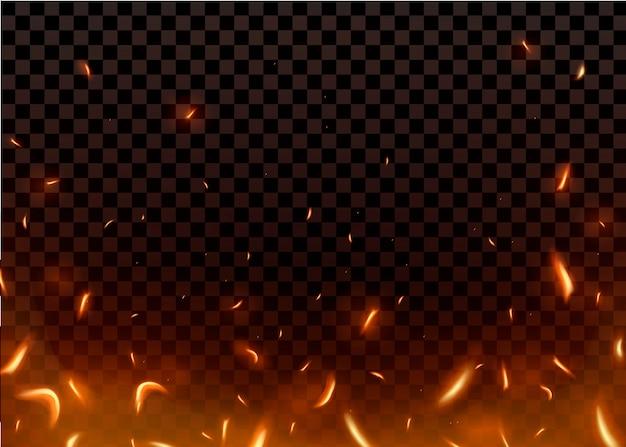Scintille ardenti calde del primo piano e particelle di fiamma isolate su fondo trasparente nero.