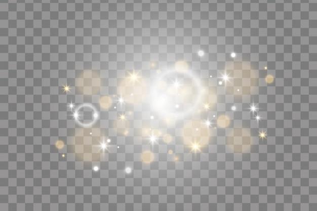 Scintille bianche e dorate effetto luce glitter.