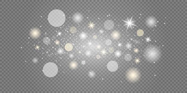 Scintille bianche e stelle brillano con uno speciale effetto di luce.