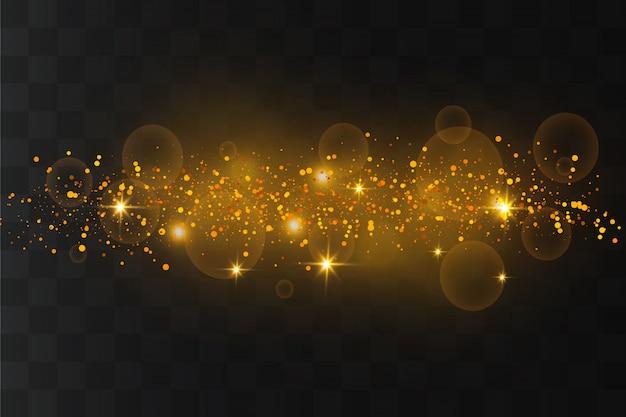 Scintille bianche e stelle dorate scintillano con uno speciale effetto di luce