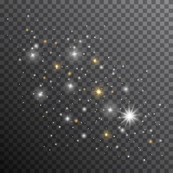 Scintille bianche scintillano effetto luce speciale. scintille vettoriali su sfondo trasparente. particelle di polvere magica scintillante. flash natalizio