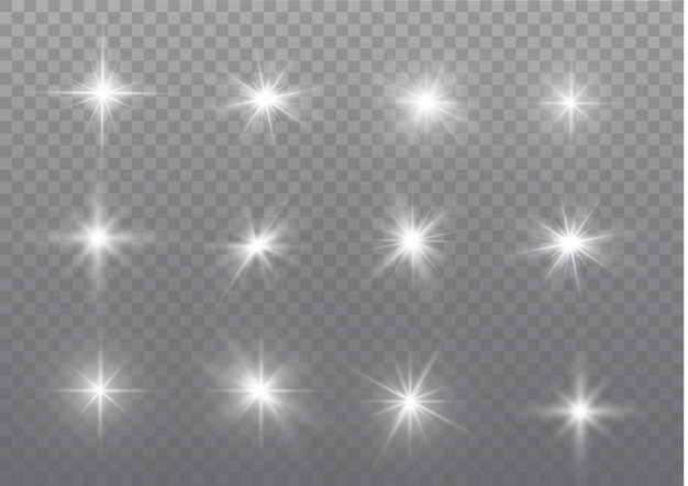 Scintille bianche scintillano effetto luce speciale.