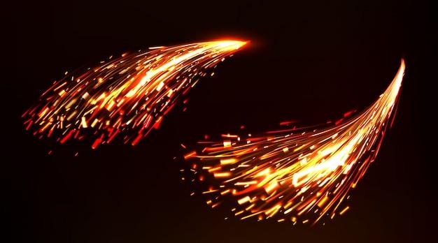 Scintille di fuoco di saldatura dei metalli, taglio di ferro