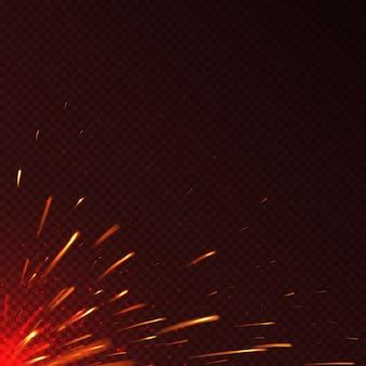 Scintille di fuoco rosso incandescente isolato sfondo vettoriale. illustrazione dell'illustrazione ardente luminosa della scintilla