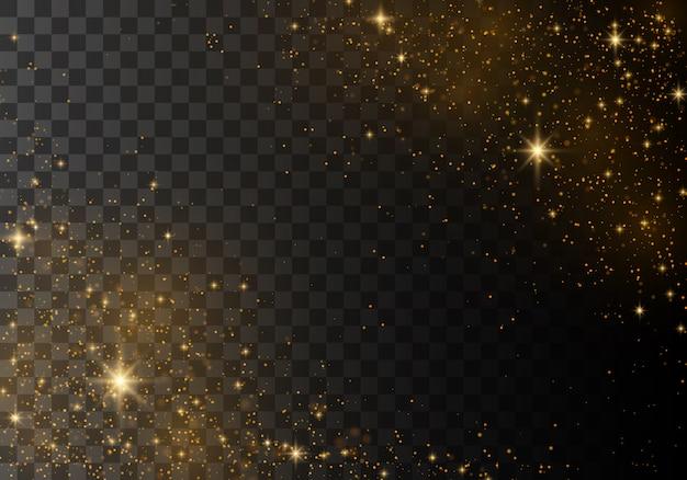 Scintille di polvere e stelle dorate che brillano