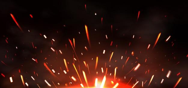 Scintille di saldatura di metalli, fuoco che brucia
