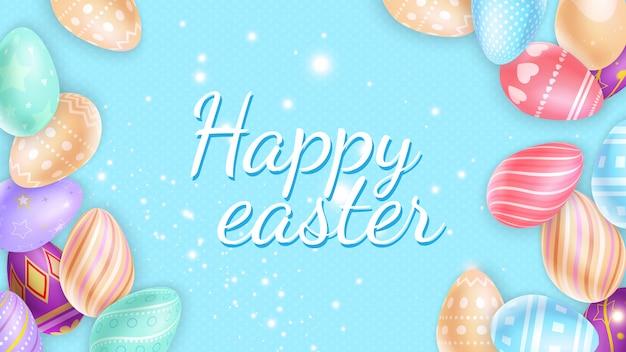 Scintille e uova intorno all'iscrizione di buona pasqua