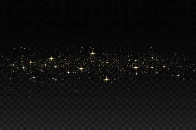 Scintille gialle e stelle dorate brillano con uno speciale effetto di luce